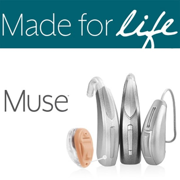 4 hearing aids representing 3 different types of products for Muse by Starkey
