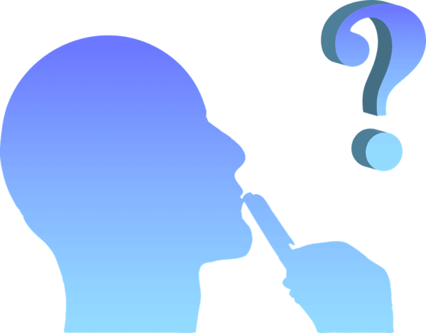 blue profile silhouette of thinking person
